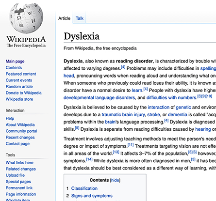 wikipedia page without dyslexia plug in