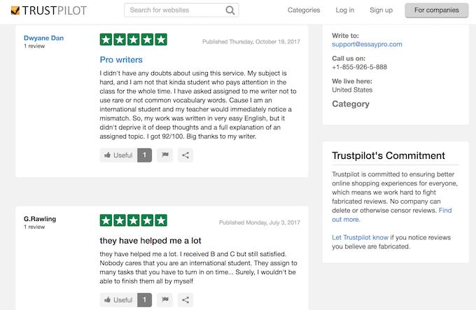 essaypro.com reviews on TrustPilot are positive
