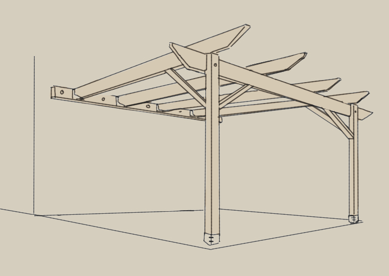 A hand-drawn illustration of a lean-to pergola