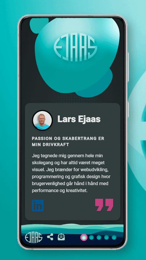 Skærmbillede af larsejaas.com startside på en smartphone