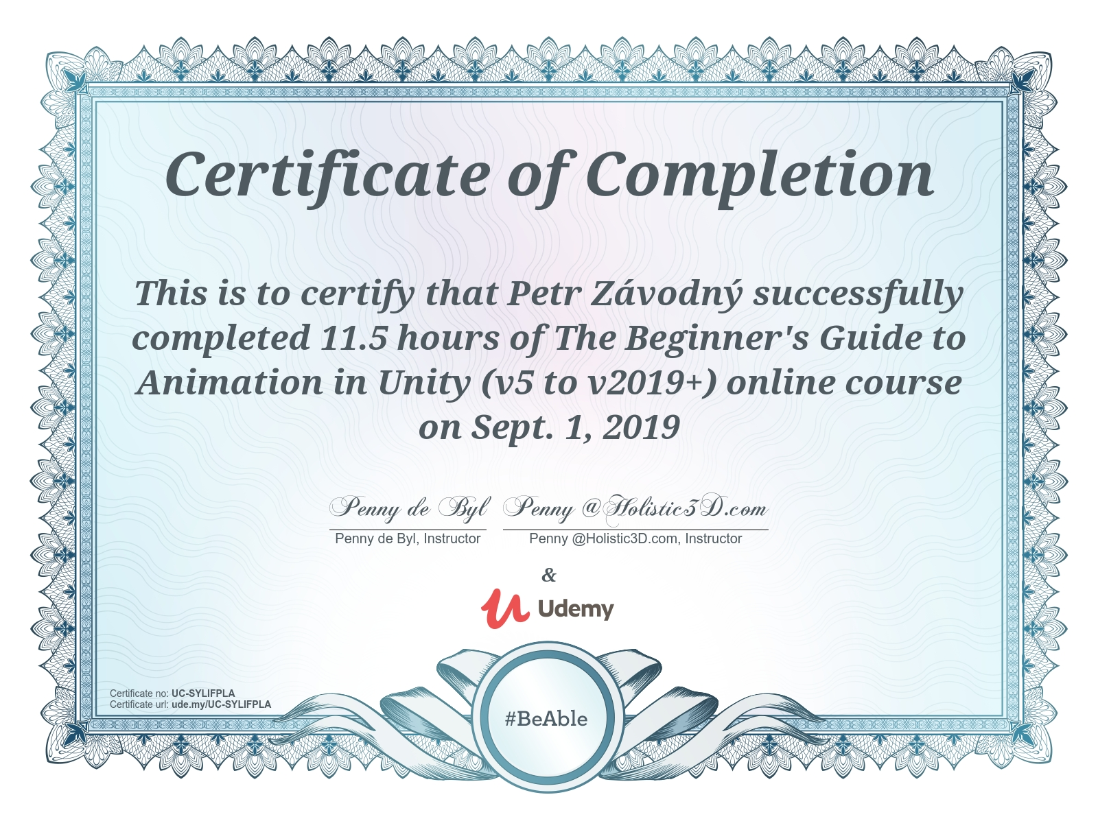 certificate The Beginner's Guide to Animation in Unity