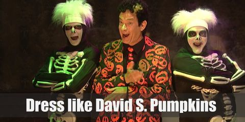 David S Pumpkins wears a suit with pumpkins designed all over it. Even his tie has pumpkins! He's the perfect Halloween host if there ever was one.