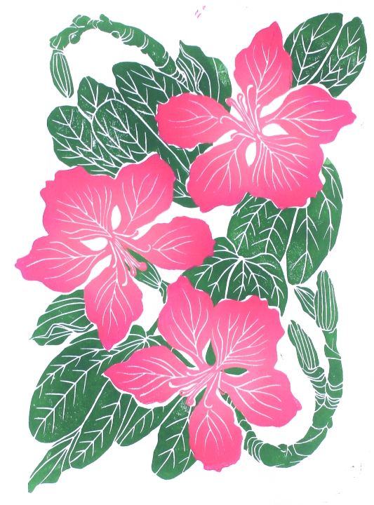 BAUHINIA (color), linocut print on paper, 2020.