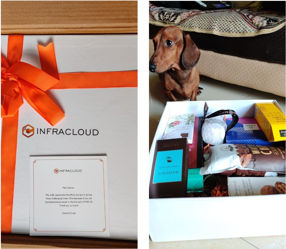 A surprise gift sent by InfraCloud. Includes chocolates and many other things