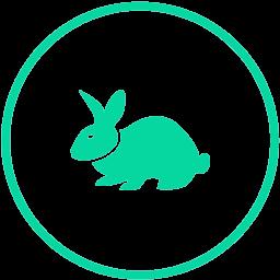 Sličica zeca koja simbolizira prijateljski stav prema životinjama te izbjegavanje testiranja na životinjama.