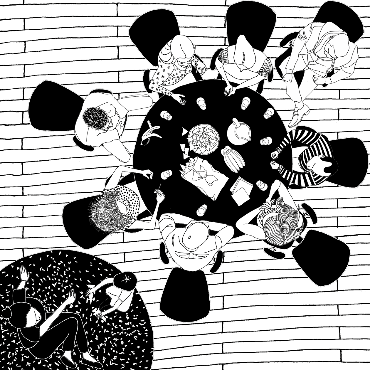 Black and white drawing showing an overhead view of a round table. Sitting around the table are a group of neighborhood residents, having a conversation. Snacks are also sitting on the table. Next to the table, a child is playing on the floor with another person.