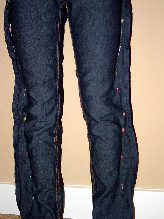 Pantalon epinglé tout le long des jambes