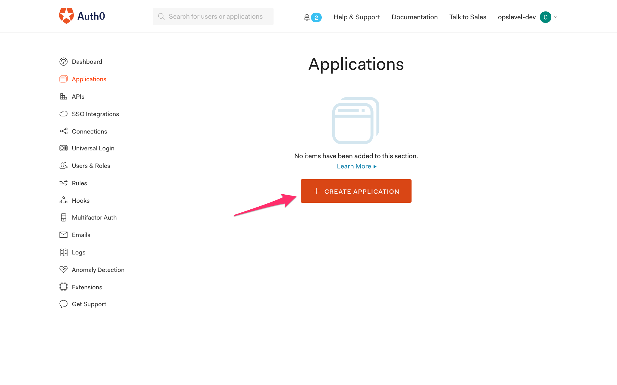 Auth0 Create Application Screen