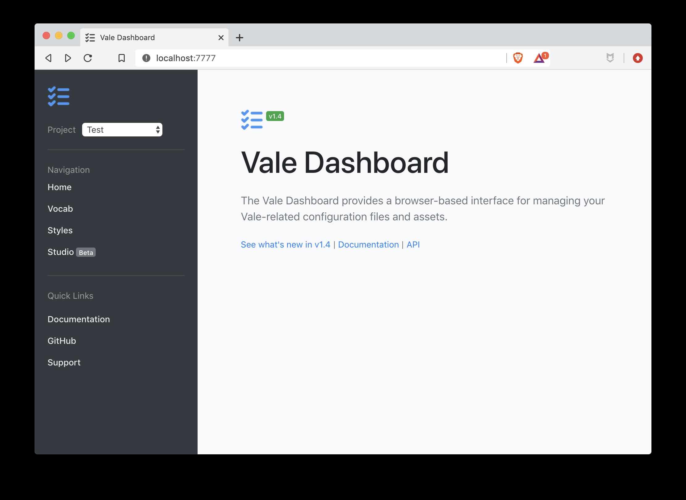 A screenshot of Vale Server's dashboard.