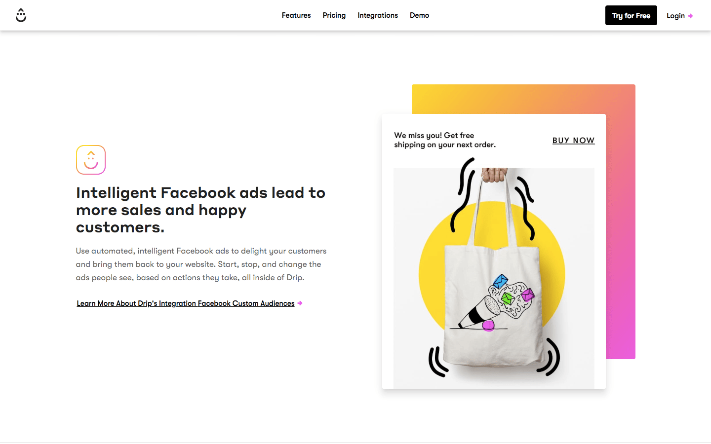 Facebook Ads section of Drip's homepage