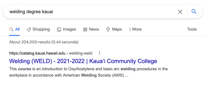 Search results for welding degree kauai