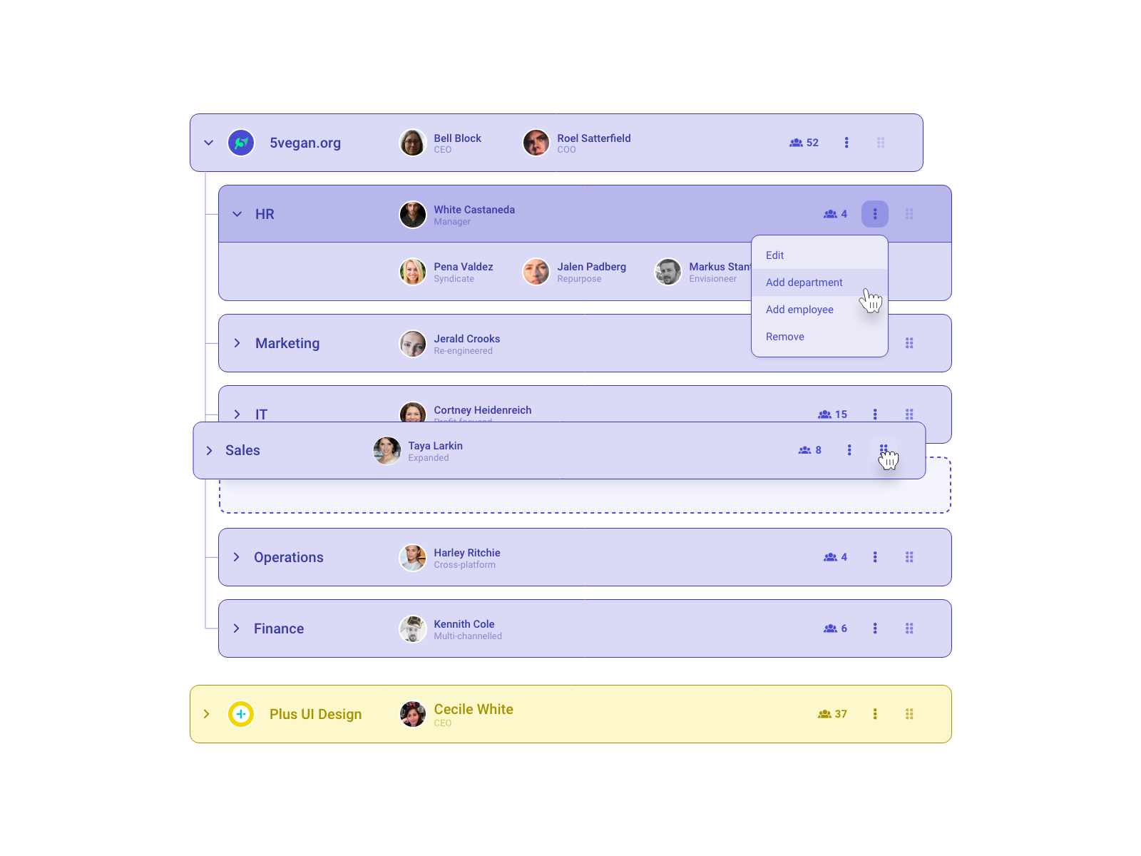 Company structure ui component