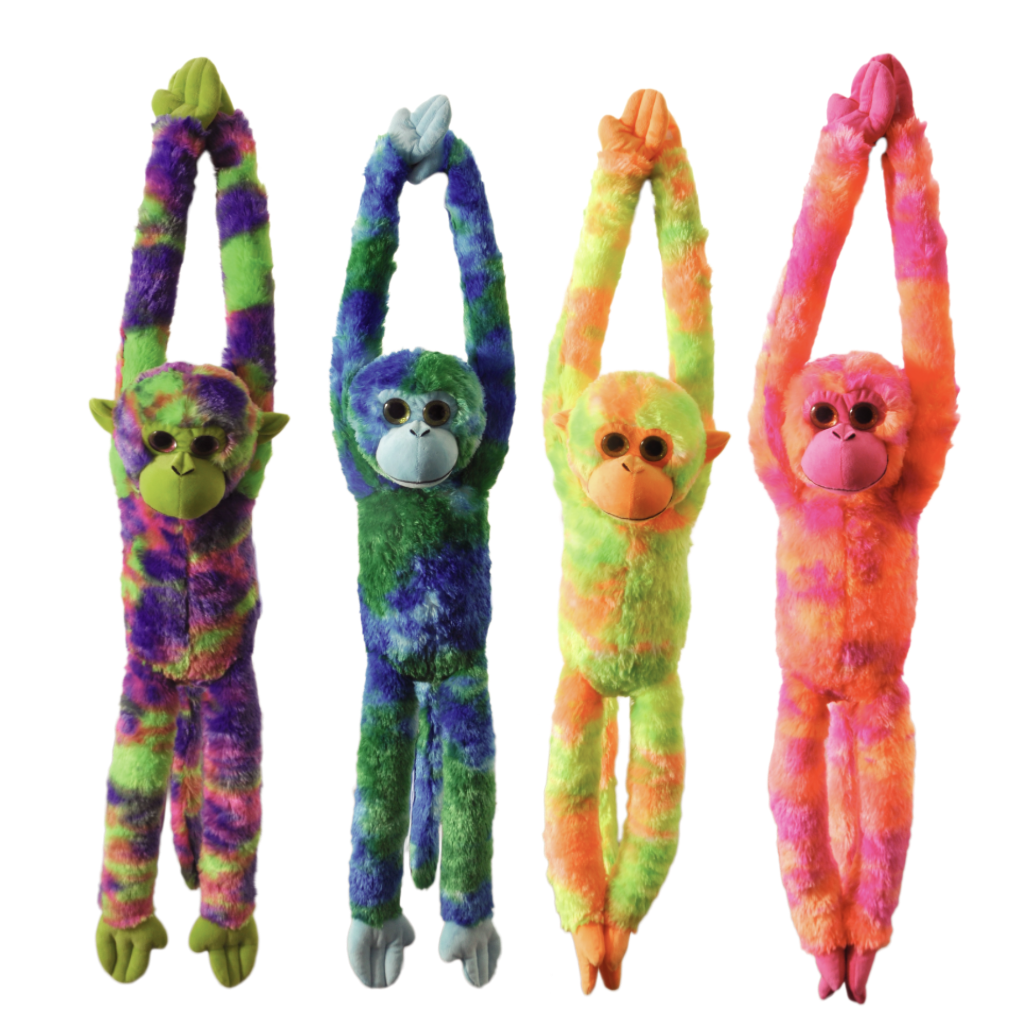 "The Petting Zoo: 20"" Tie Dye Hanging Monkey & Sound Chip Assortment"