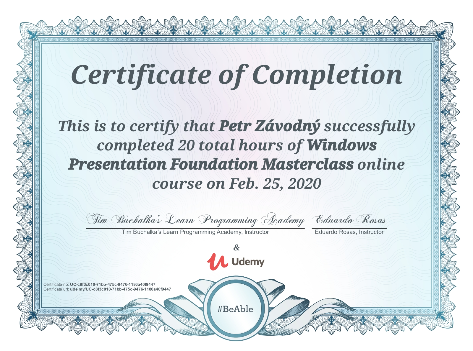 certificate Windows Presentation Foundation Masterclass