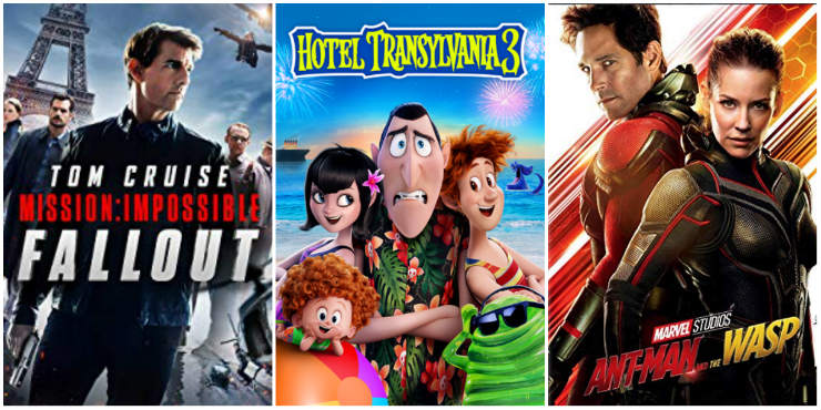 Mission: Impossible - Fallout, Hotel Transylvania 3, Ant-man and the Wasp