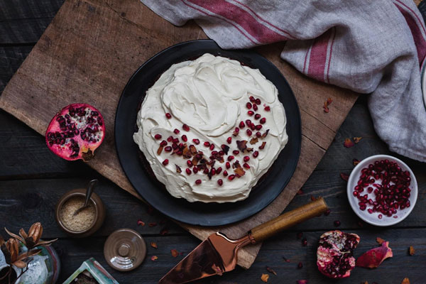 Pomegranate Cake With A Orange Blossom Whip Cream Frosting