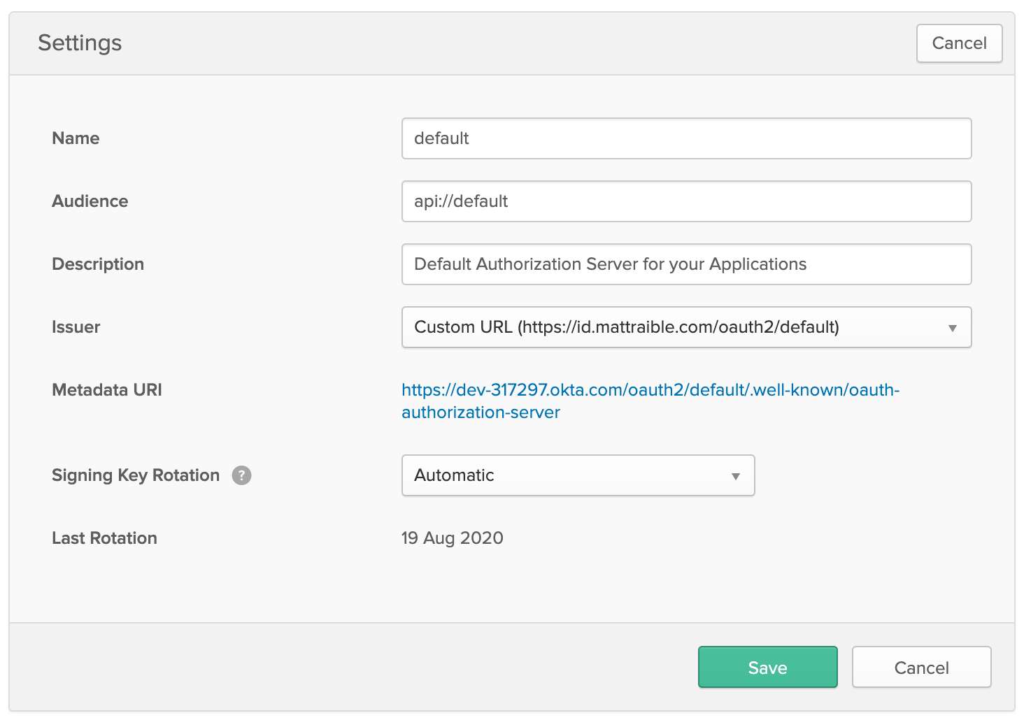 Authorization Server Custom URL