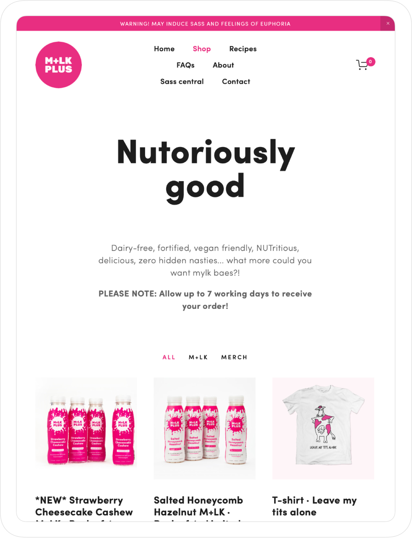 Responsive, colourful and creative website design by Jack Watkins for Camilla Ainsworth's nut milk brand, M+LKPLUS