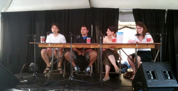 "In July the Indie Caucus held a ""Tent Talk"" at The Toronto Fringe Festival to discuss the challenges independent artists faced working with CAEA. (l-r) Aaron Willis, Franco Boni, Julie Tepperman, Margaret Evans"