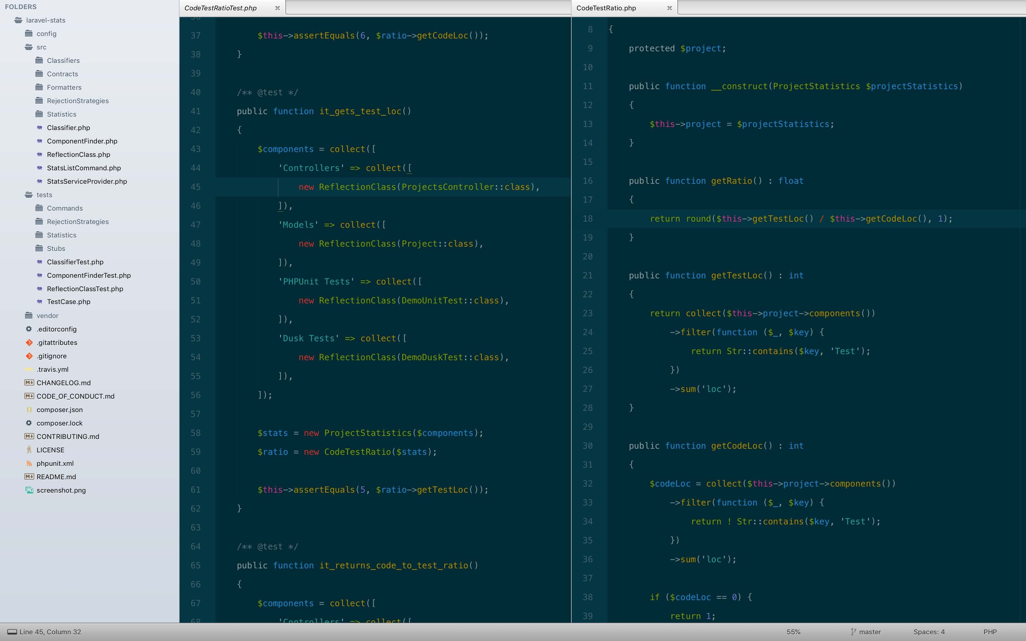 Screenshot of Sublime Text with laravel-stats open