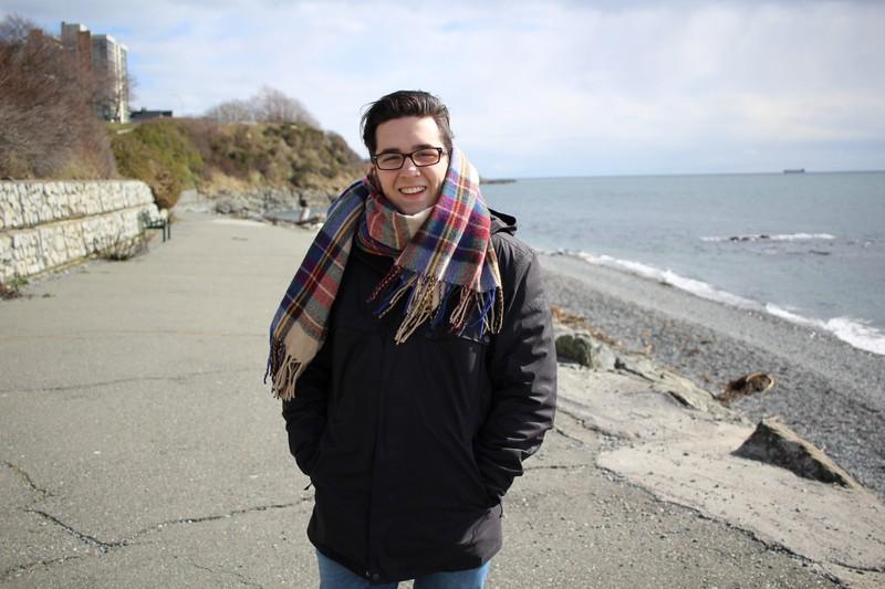 Mykal Machon on a beach in Victoria British Columbia