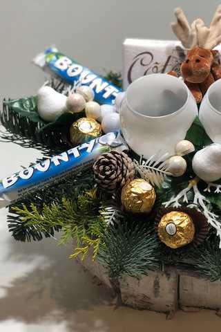 Grote xxl ovaal wit kerststuk