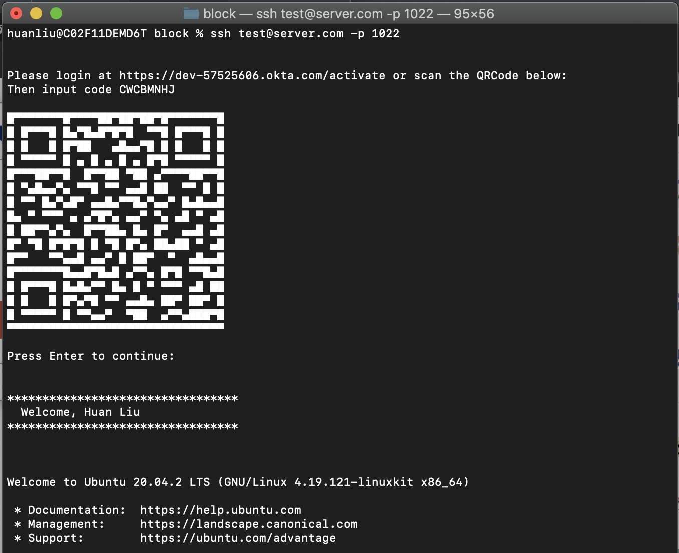 ssh login experience using device flow