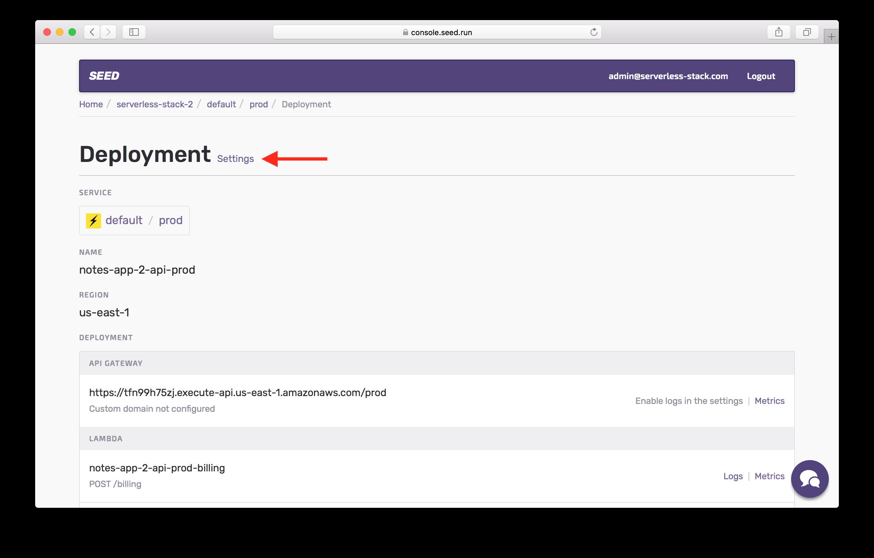 Click deployment settings in prod screenshot
