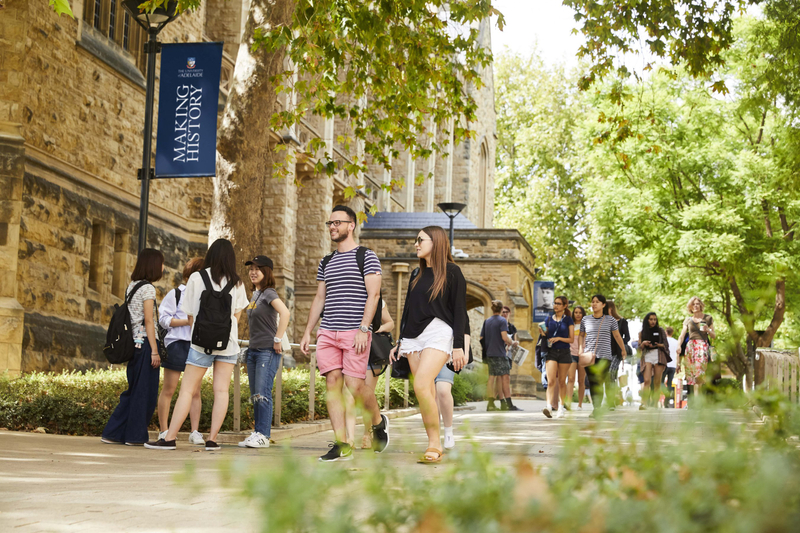 Students walking on the campus of the University of Adelaide