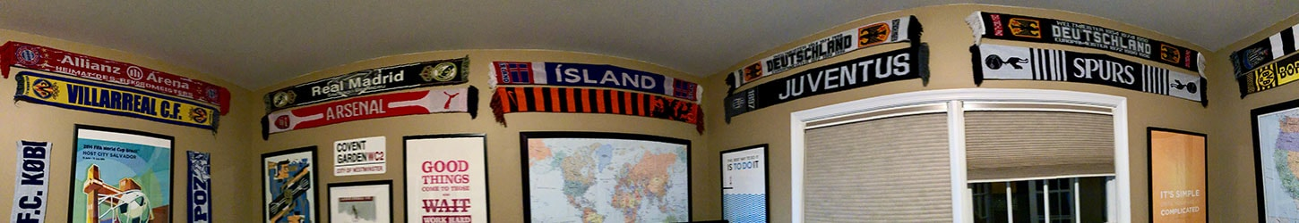 Soccer scarves hung around the office.