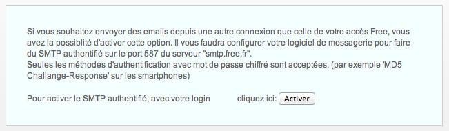 Activation du SMTP Free.fr