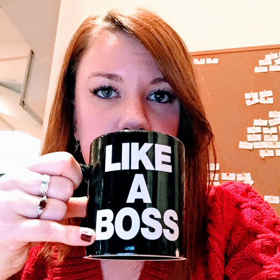 "Me with my favorite ""Like A Boss"" mug"