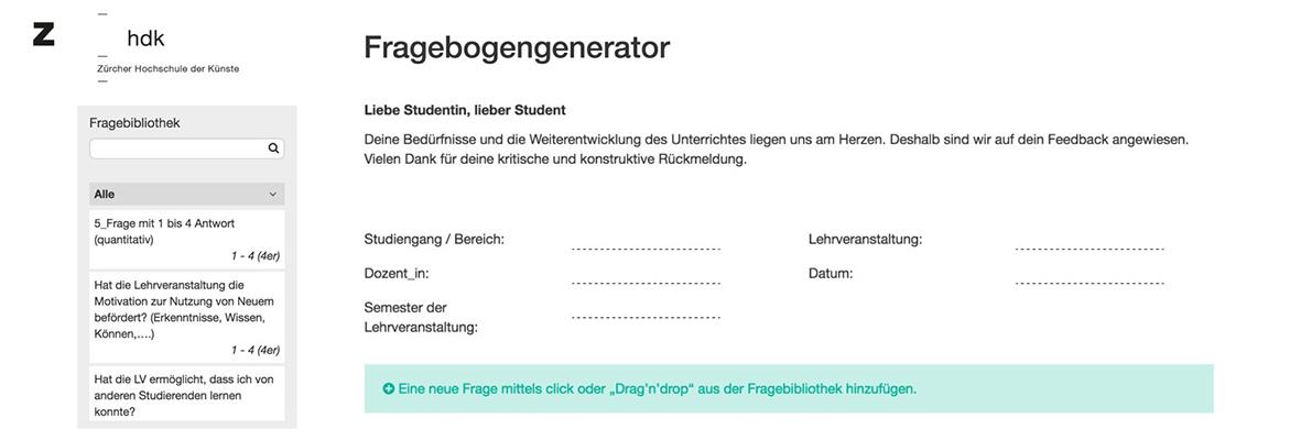 Der Fragebogen Generator auf erster Ebene