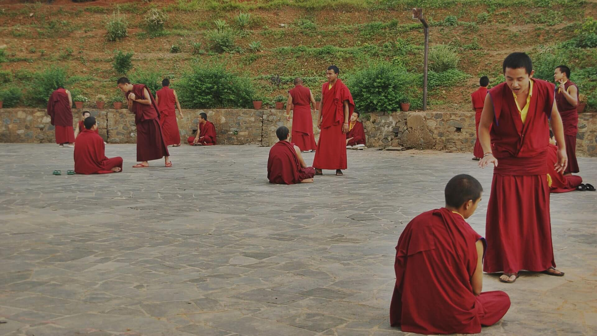 Monks Meditating in the Peaceful Park