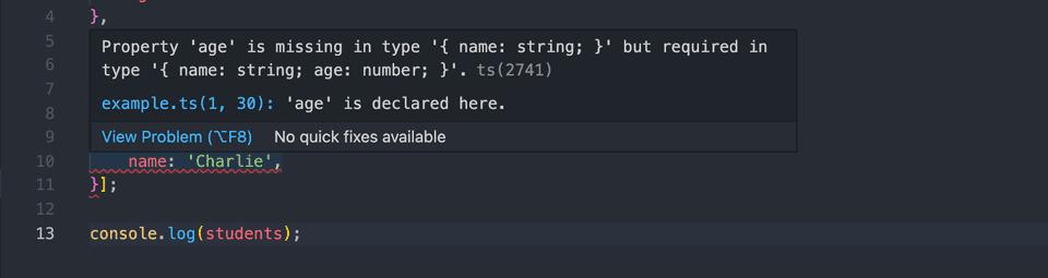 typescript showing error