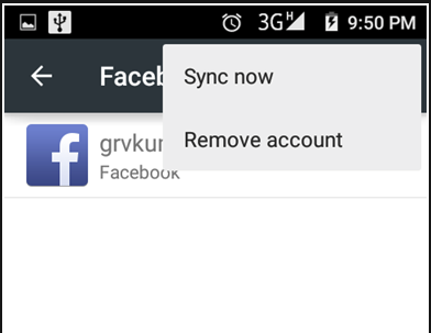 "Facebook Contacts - Option ""Sync Now"""
