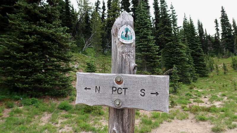 A sign marking the north and south directions of the PCT