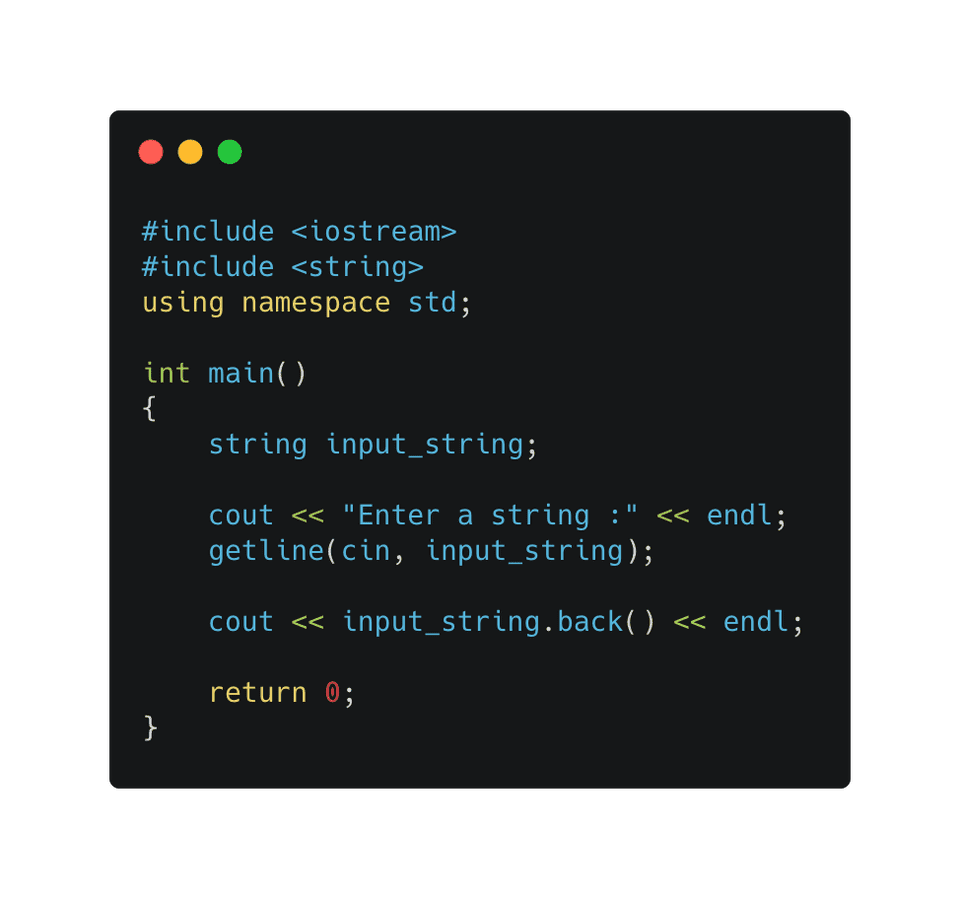 C++ find last string character using back()