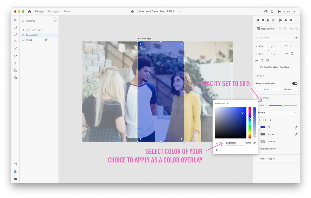 Applying colored overlays to your image in Adobe XD
