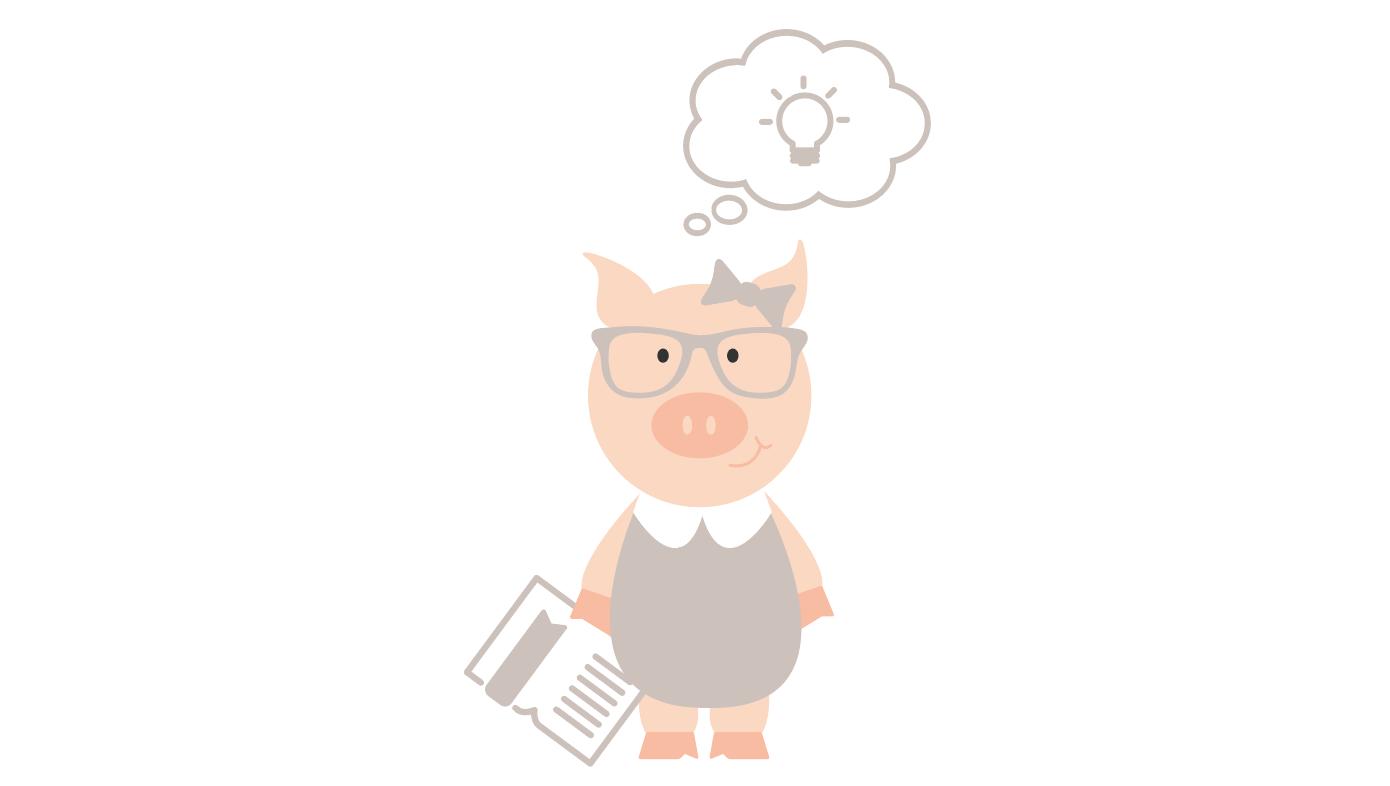 Joni Bologna pig logo holding book