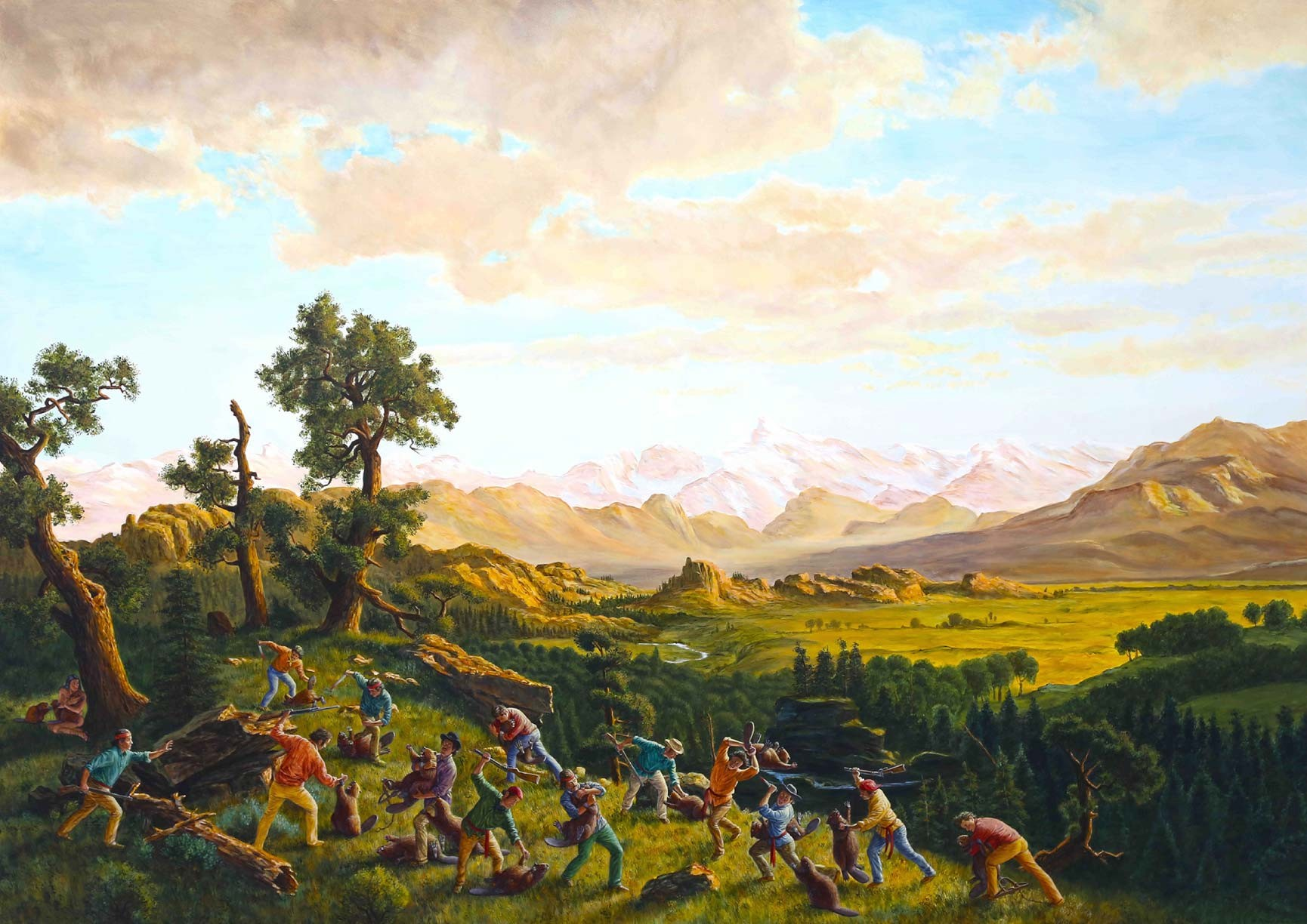 """""""The Massacre of the Innocents"""", a painting by Cree artist Kent Monkman, gives an Indigenous perspective on Canada's beaver fur trade industry"""