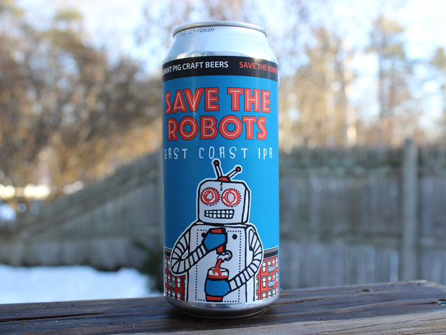 Save The Robots, a East Coast IPA brewed by Radiant Pig Craft Beers