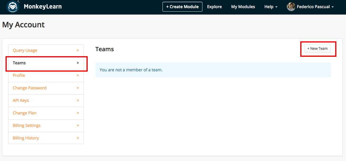 Create new teams within MonkeyLearn to manage your machine learning modules