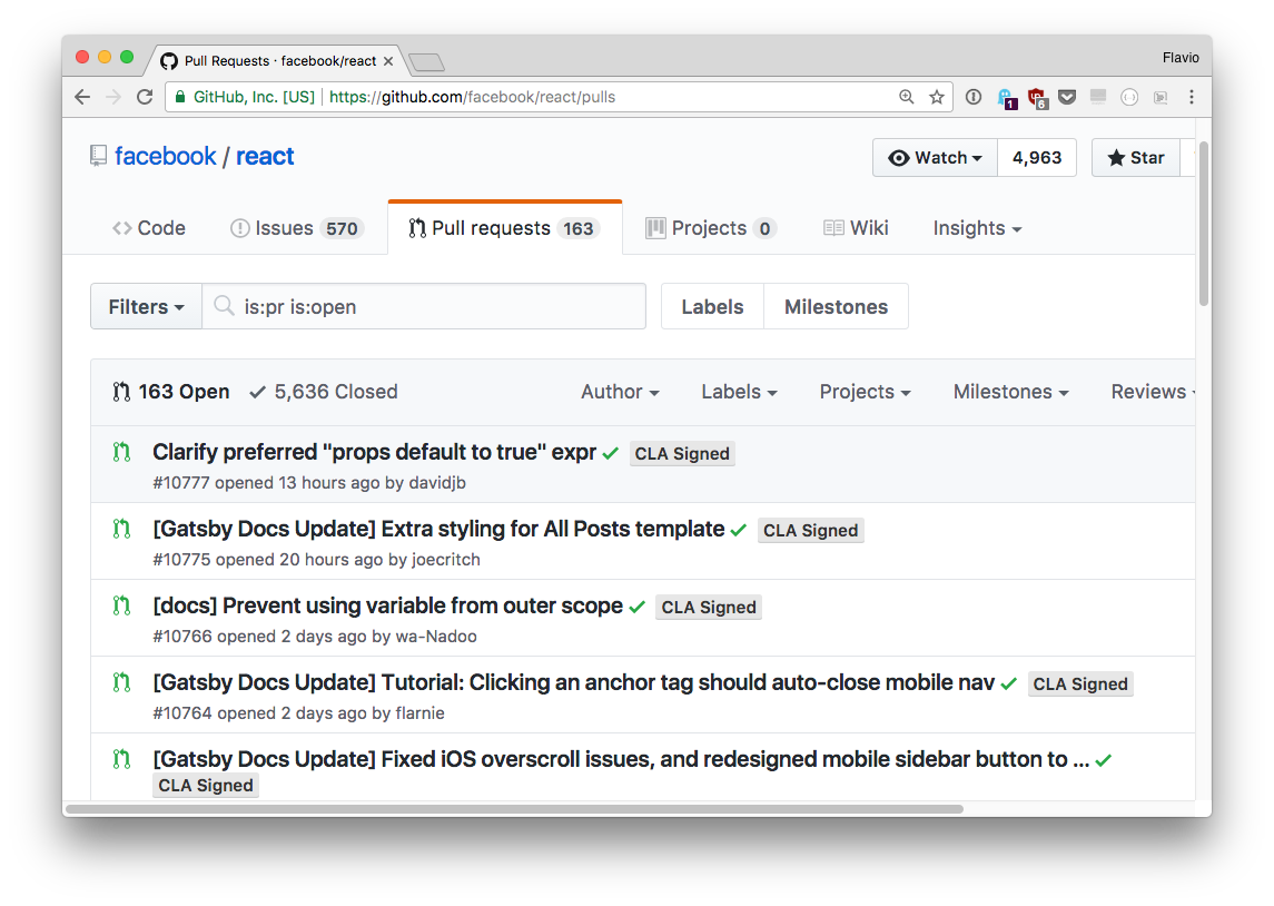 React Pull Requests