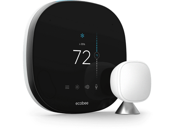 SmartThermostat with voice control with SmartSensor from the front, slightly angled