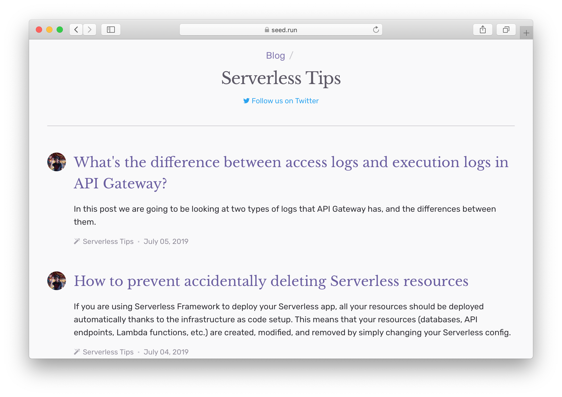 Serverless Tips Seed blog