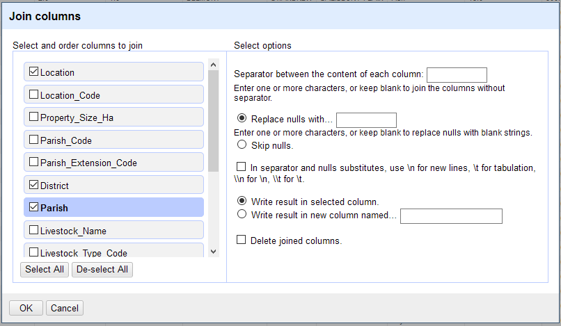 A screenshot of the settings window for joining columns.