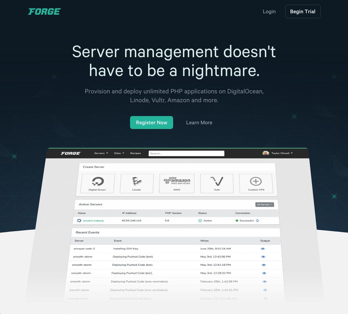Laravel Forge Landing Page screenshot