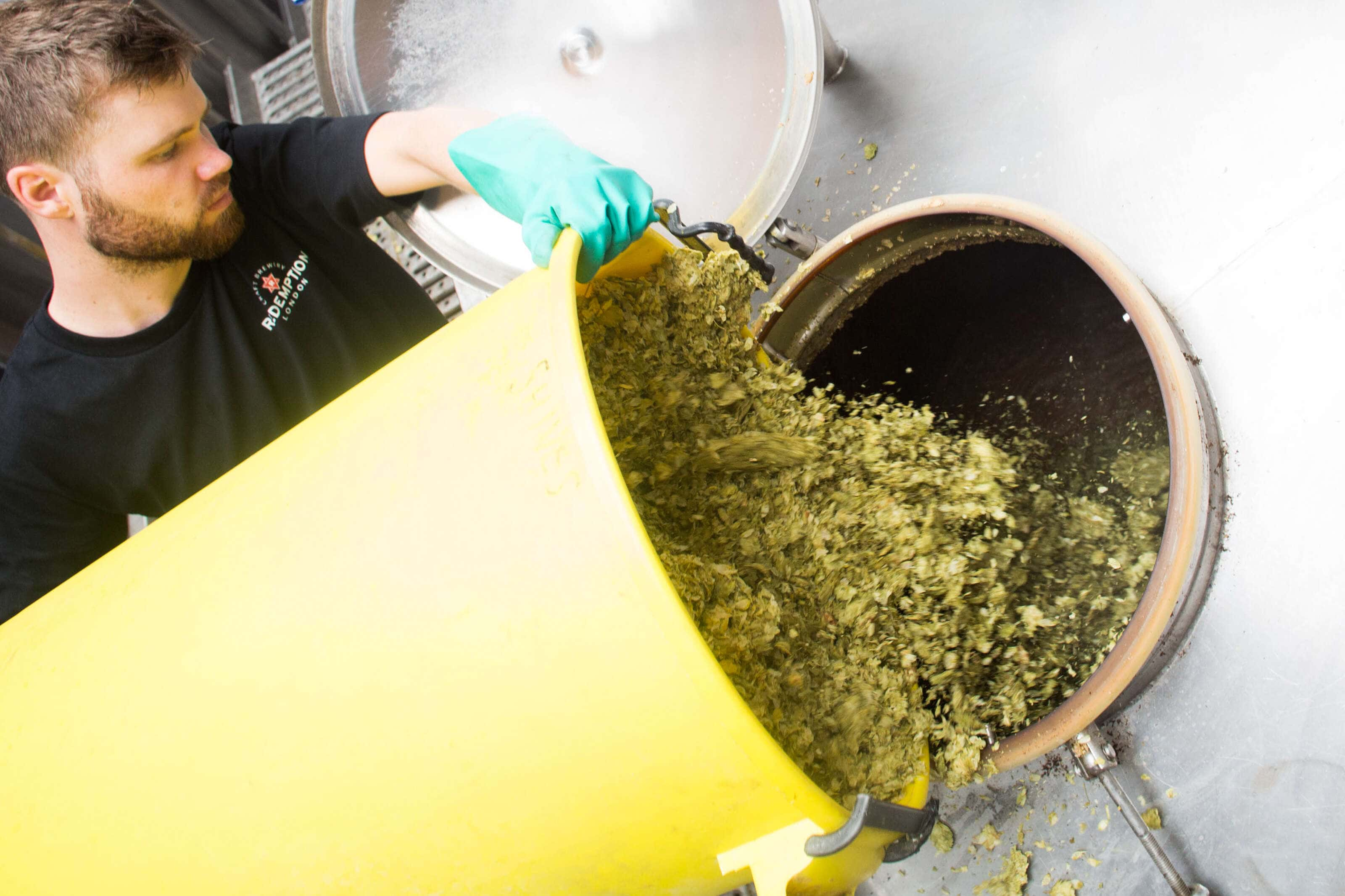hops being added to yeast to make beer at redemption brewery.