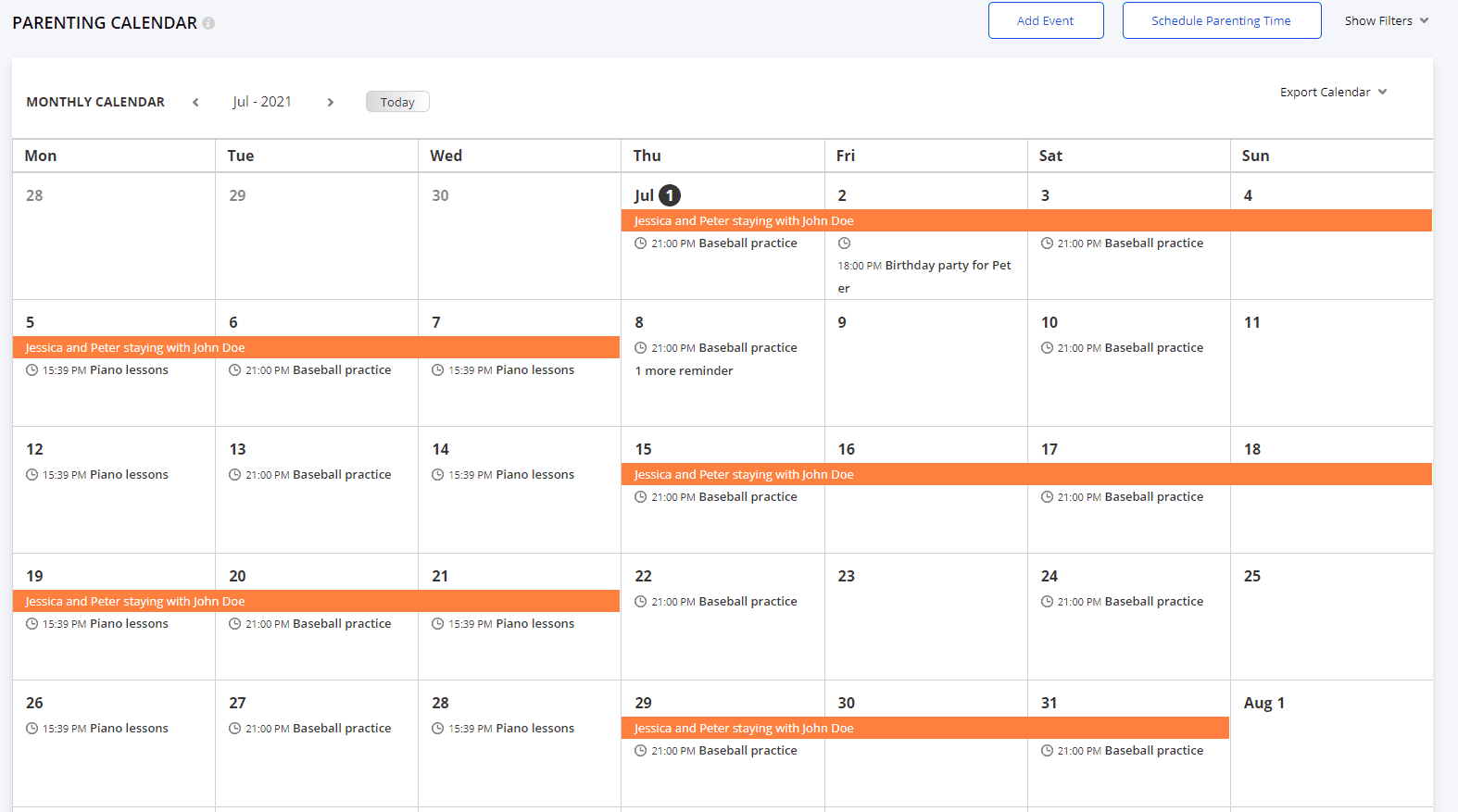 parenting calendar example